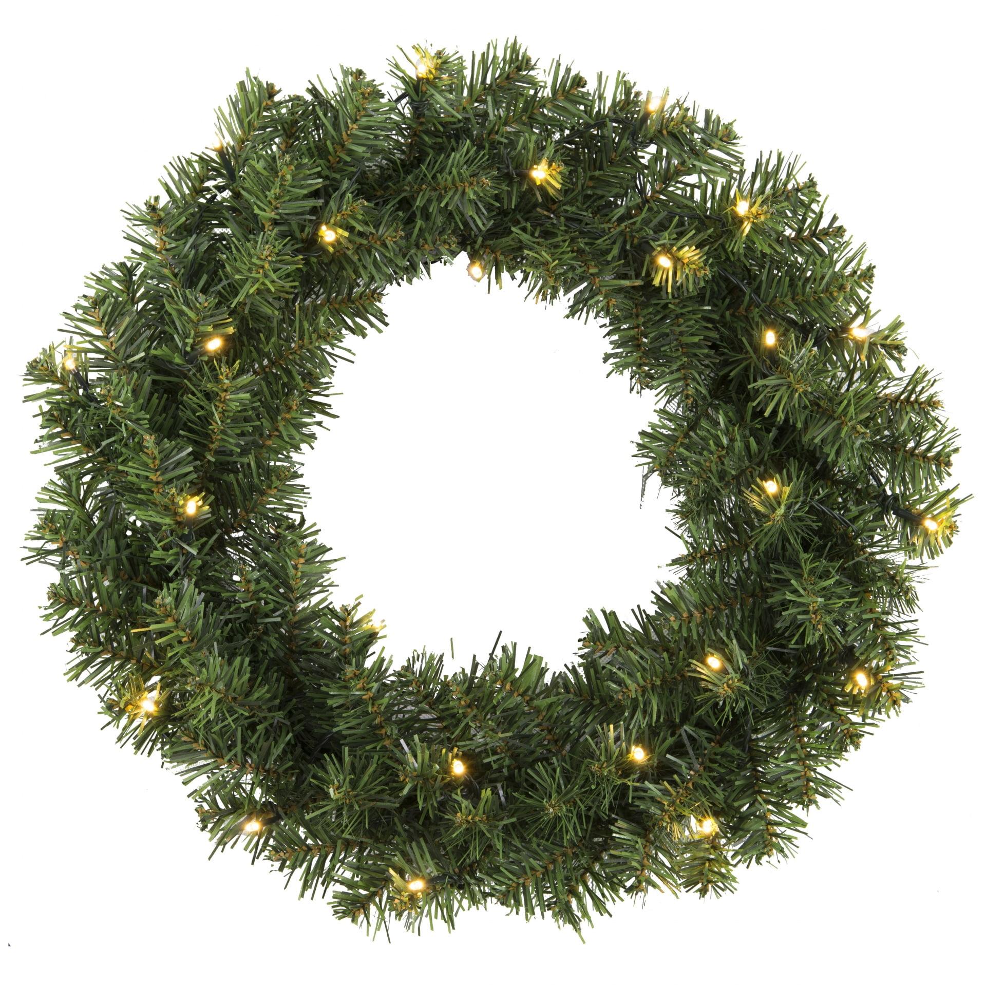 STAR TRADING Svítící vánoční věnec - Alaska - 34 cm, zelená barva, kov, plast