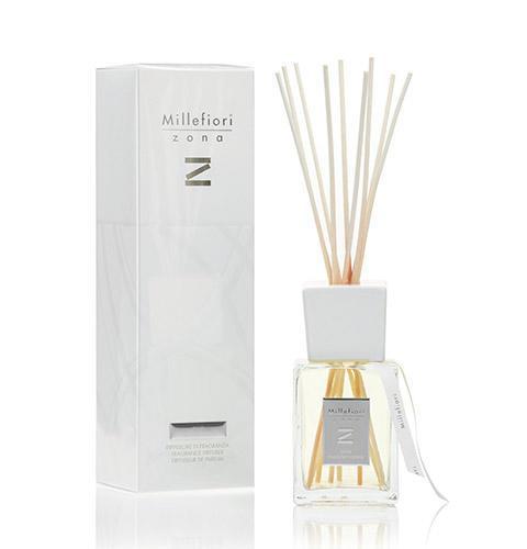 Millefiori Milano Vonný difuzér Aria Mediterranea 250 ml, bílá barva, čirá barva, přírodní barva, sklo, dřevo