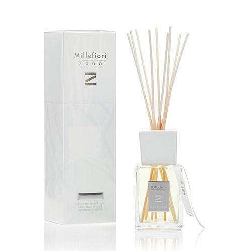Millefiori Milano Vonný difuzér Legni & Spezie 250 ml, bílá barva, přírodní barva, sklo, dřevo