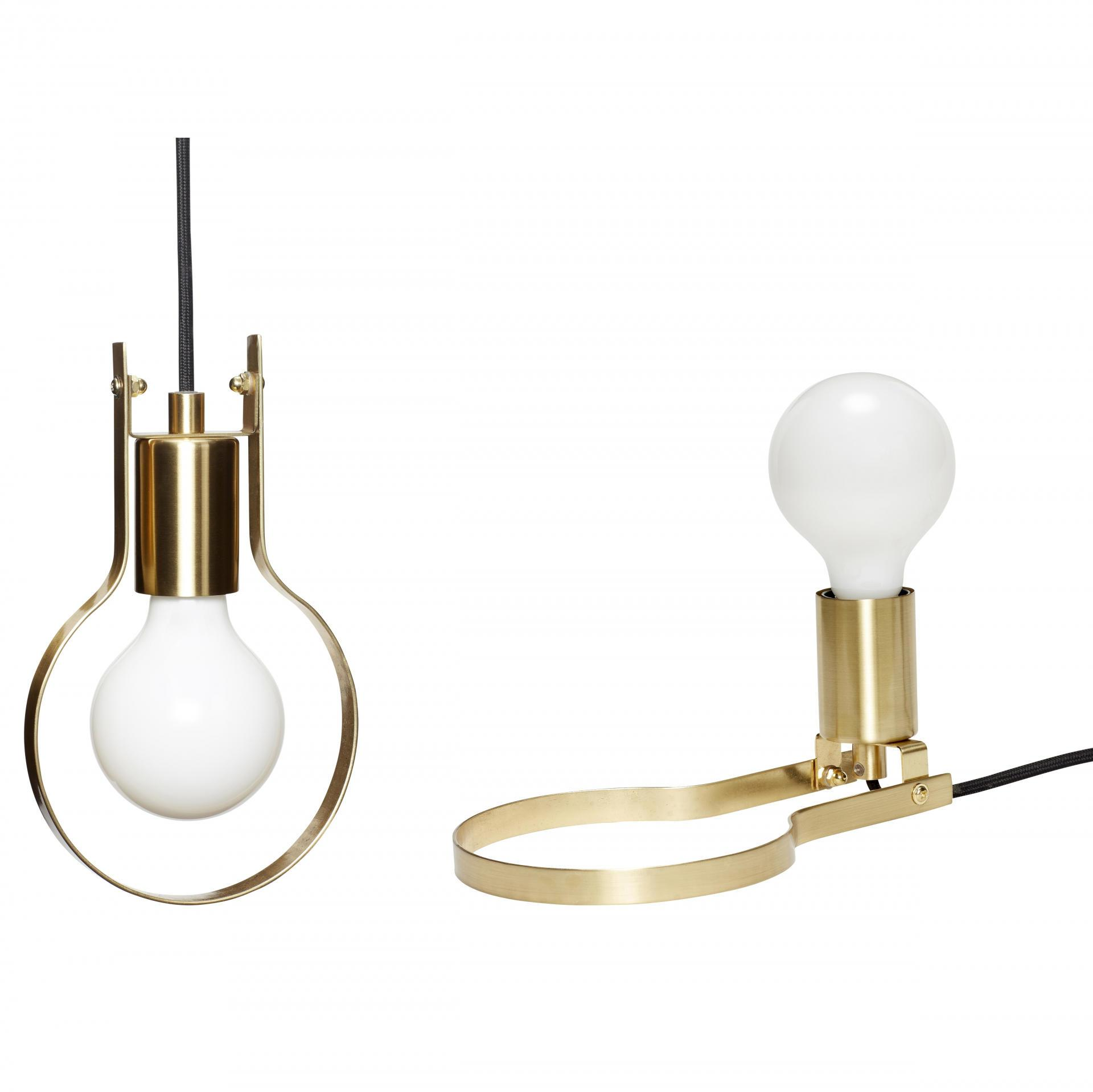 Hübsch Závěsná/stolní lampa Bulb Brass 2v1, zlatá barva, kov