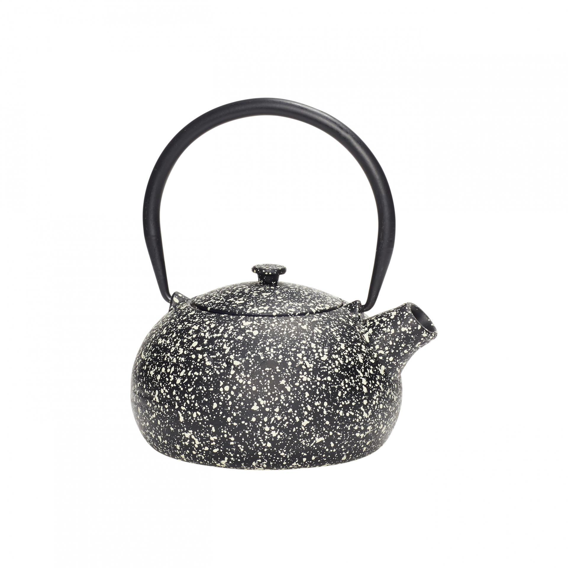 Hübsch Designová čajová konvice 0,8 l, černá barva, kov