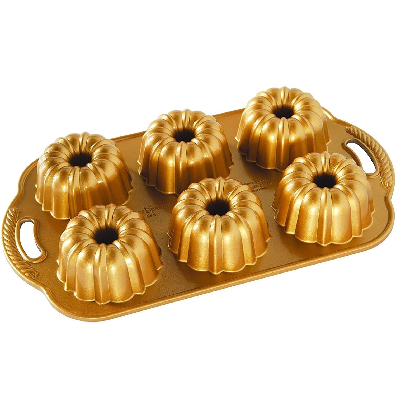 Nordic Ware Hliníková forma Anniversary Mini Gold Pan, zlatá barva, stříbrná barva, kov
