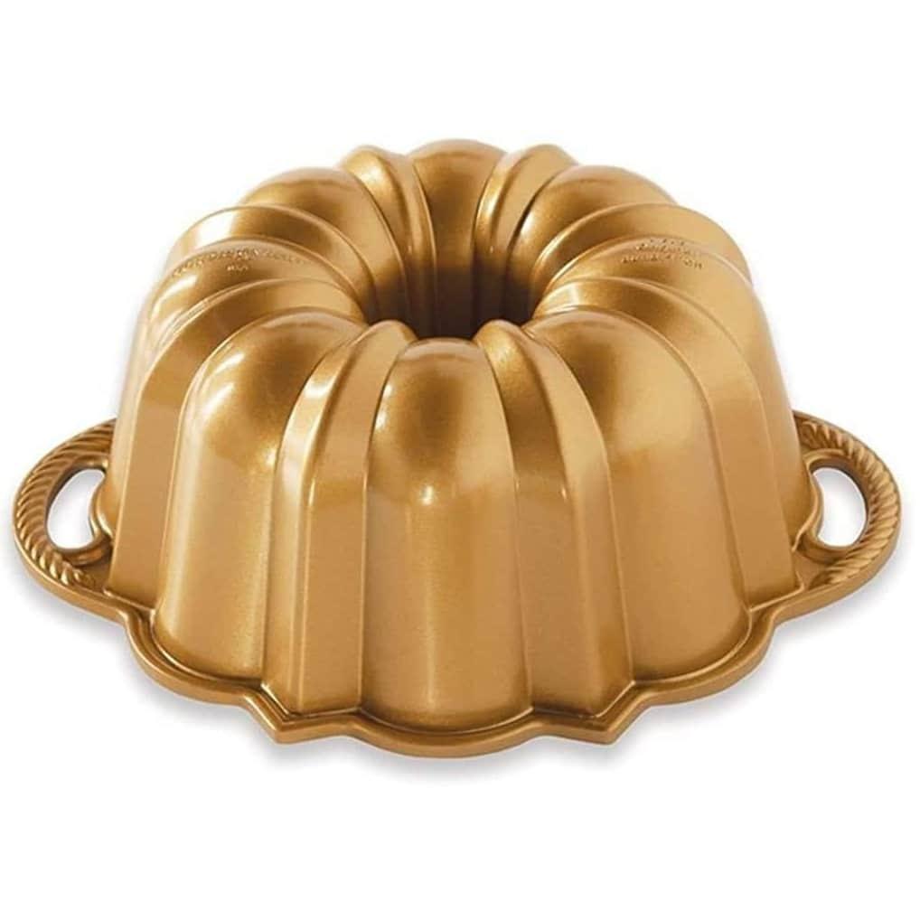 Nordic Ware Hliníková forma na bábovku Anniversary Pan Gold, zlatá barva, stříbrná barva, kov