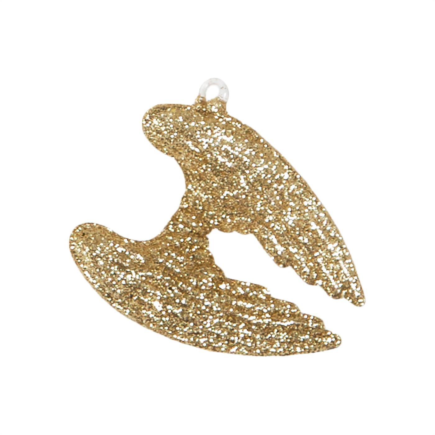 sass & belle Závěsná vánoční dekorace Glitter Wings, zlatá barva, sklo