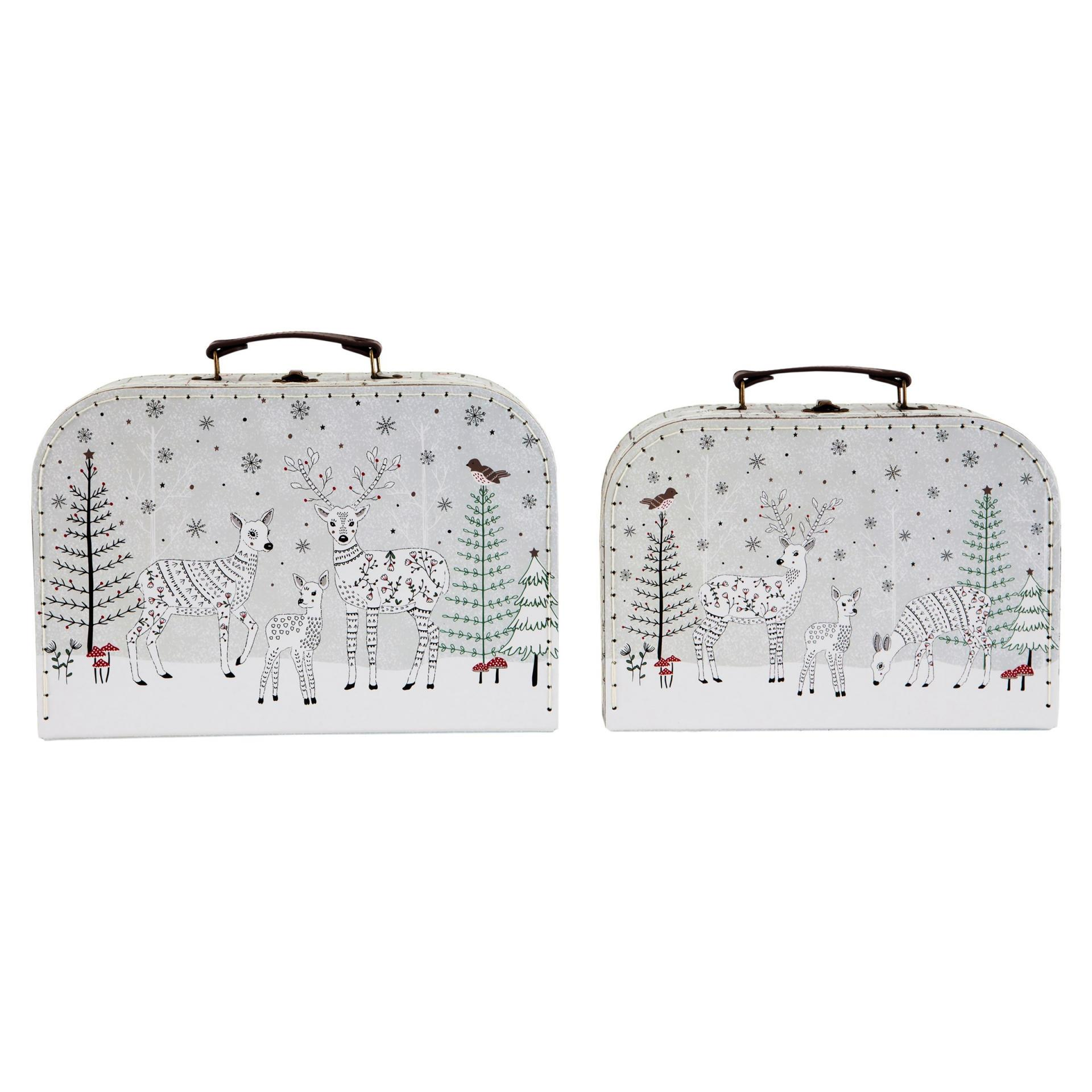 sass & belle Dětský kufřík Folk Deer Větší, šedá barva, bílá barva, kov, papír, kůže