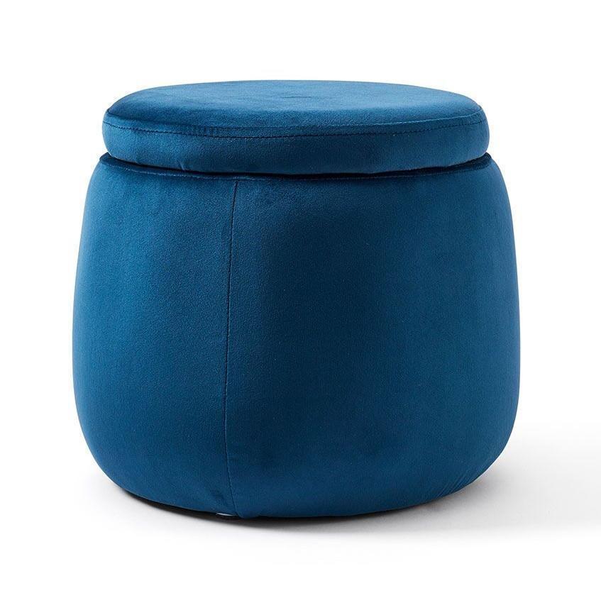 Kids Concept Dětský taburet s úložným prostorem Velvet Blue, modrá barva, textil
