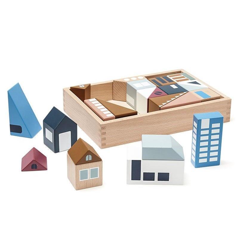 Kids Concept Dětské kostky City Blocks Aiden, multi barva, dřevo