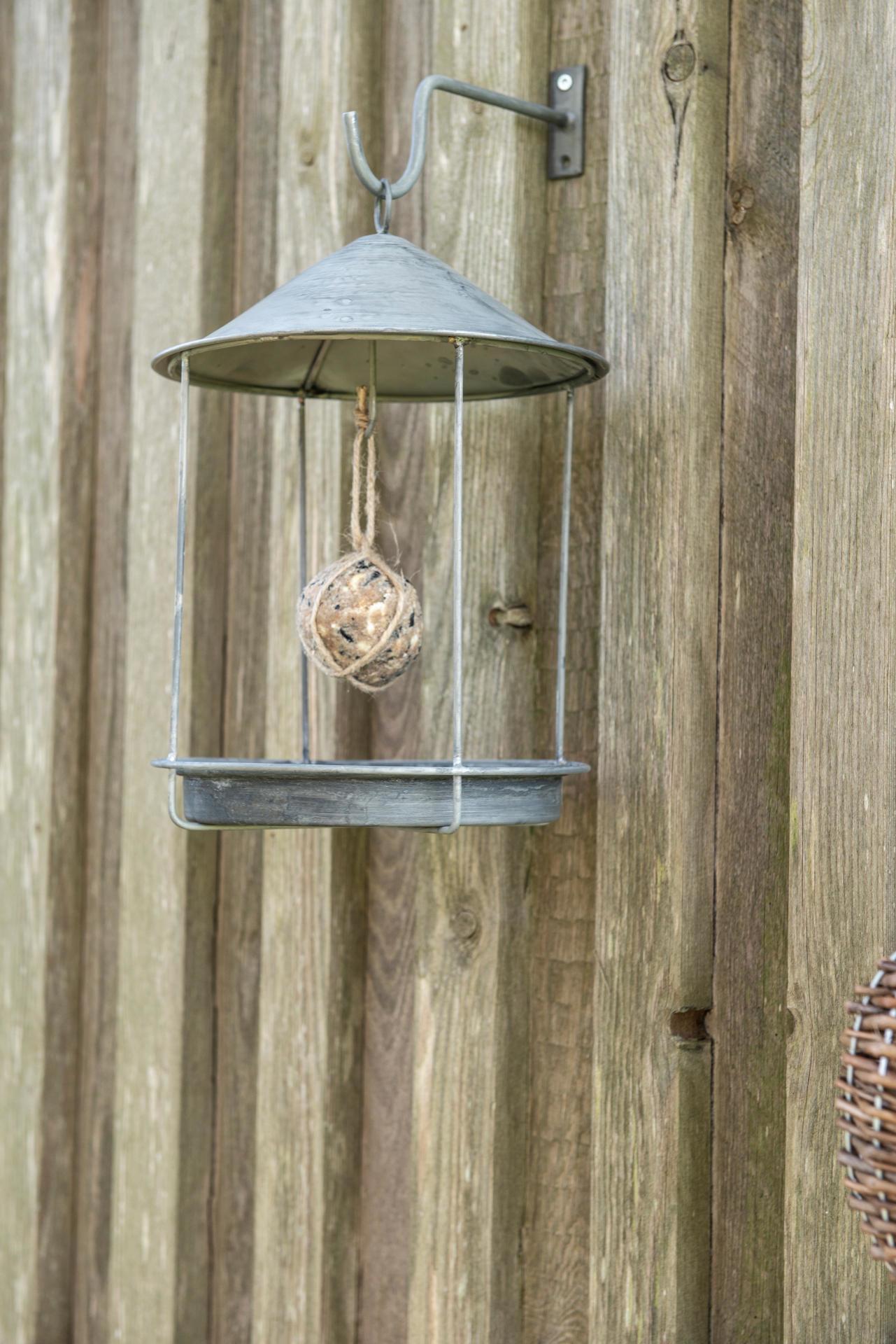 IB LAURSEN Ptačí krmítko Round, šedá barva, zinek