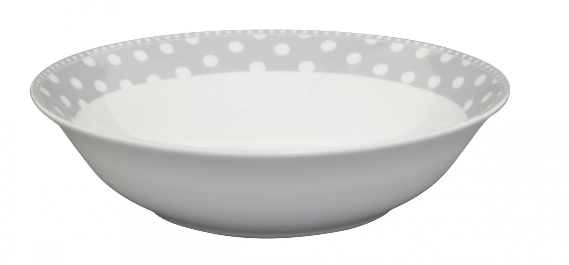 Krasilnikoff Porcelánová salátová mísa Dots Grey, šedá barva, bílá barva, porcelán