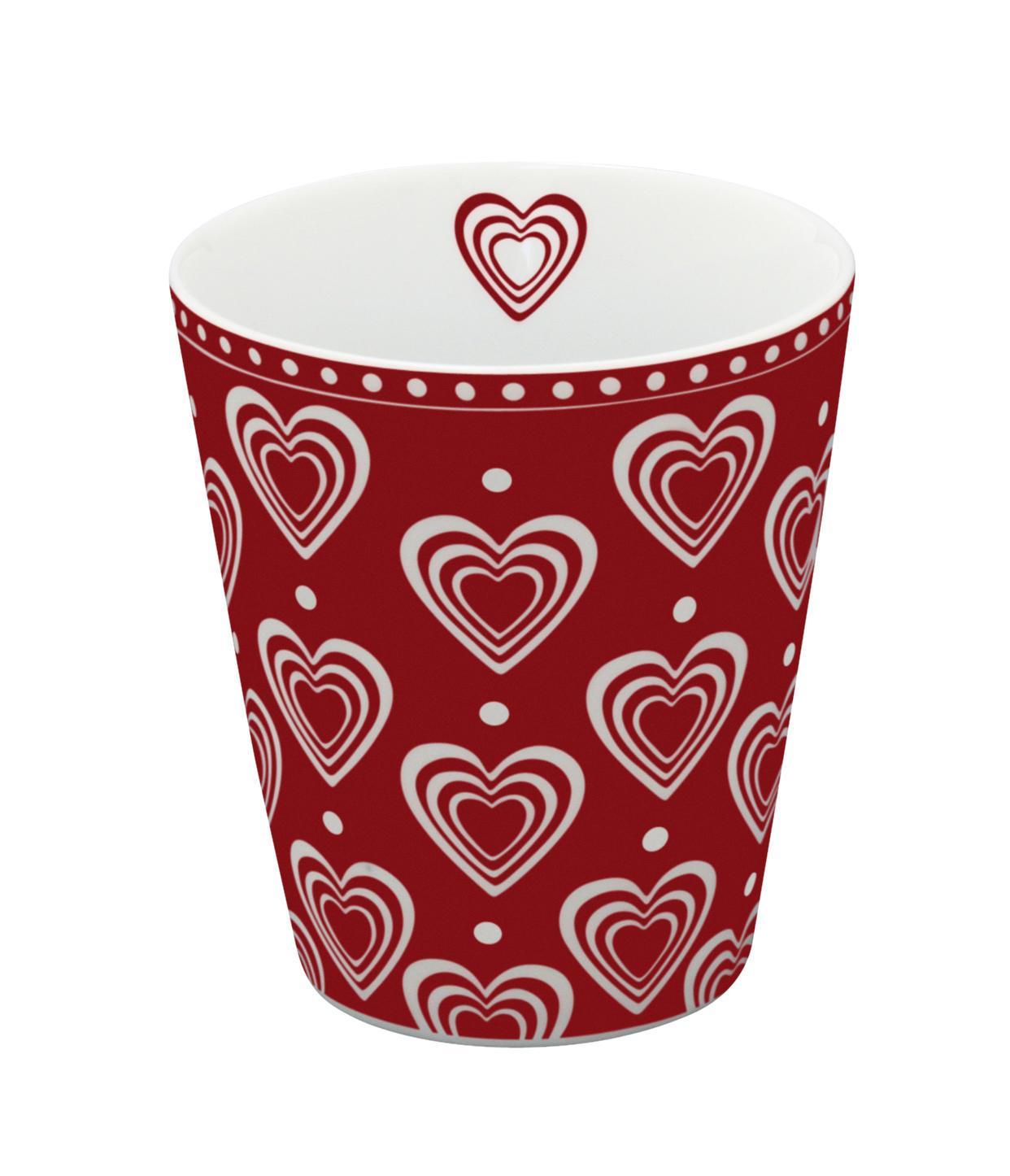 Krasilnikoff Latte hrneček Hearts Red, červená barva, porcelán