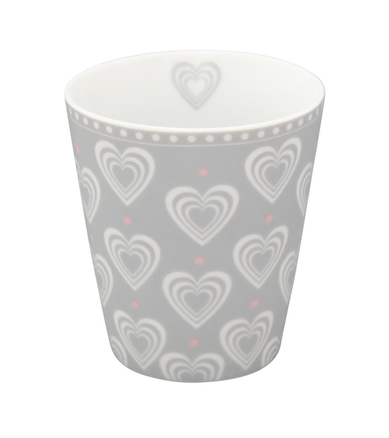 Krasilnikoff Latte hrneček Hearts Grey, šedá barva, porcelán