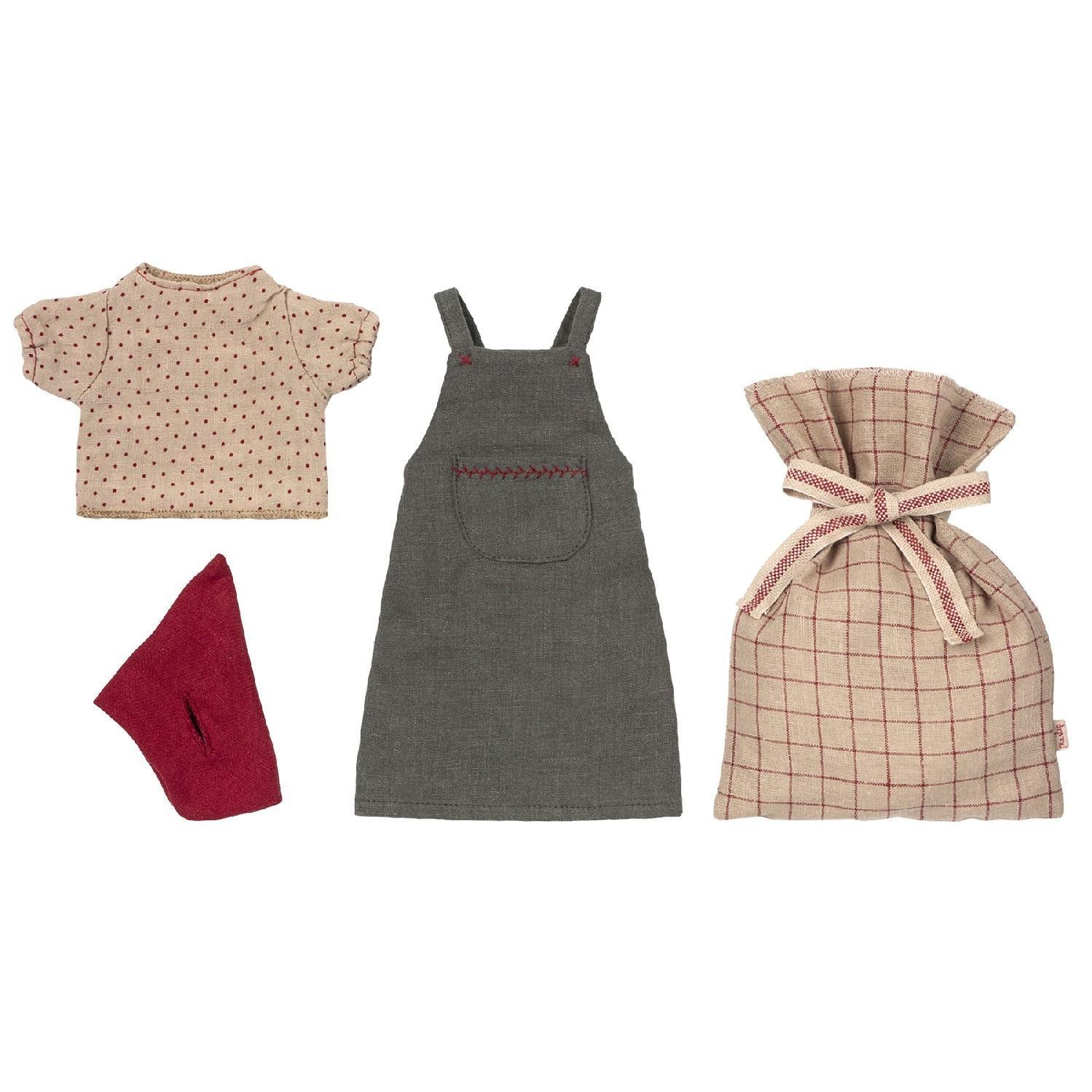 Maileg Vánoční oblečení na myšku - medium, červená barva, béžová barva, šedá barva, textil