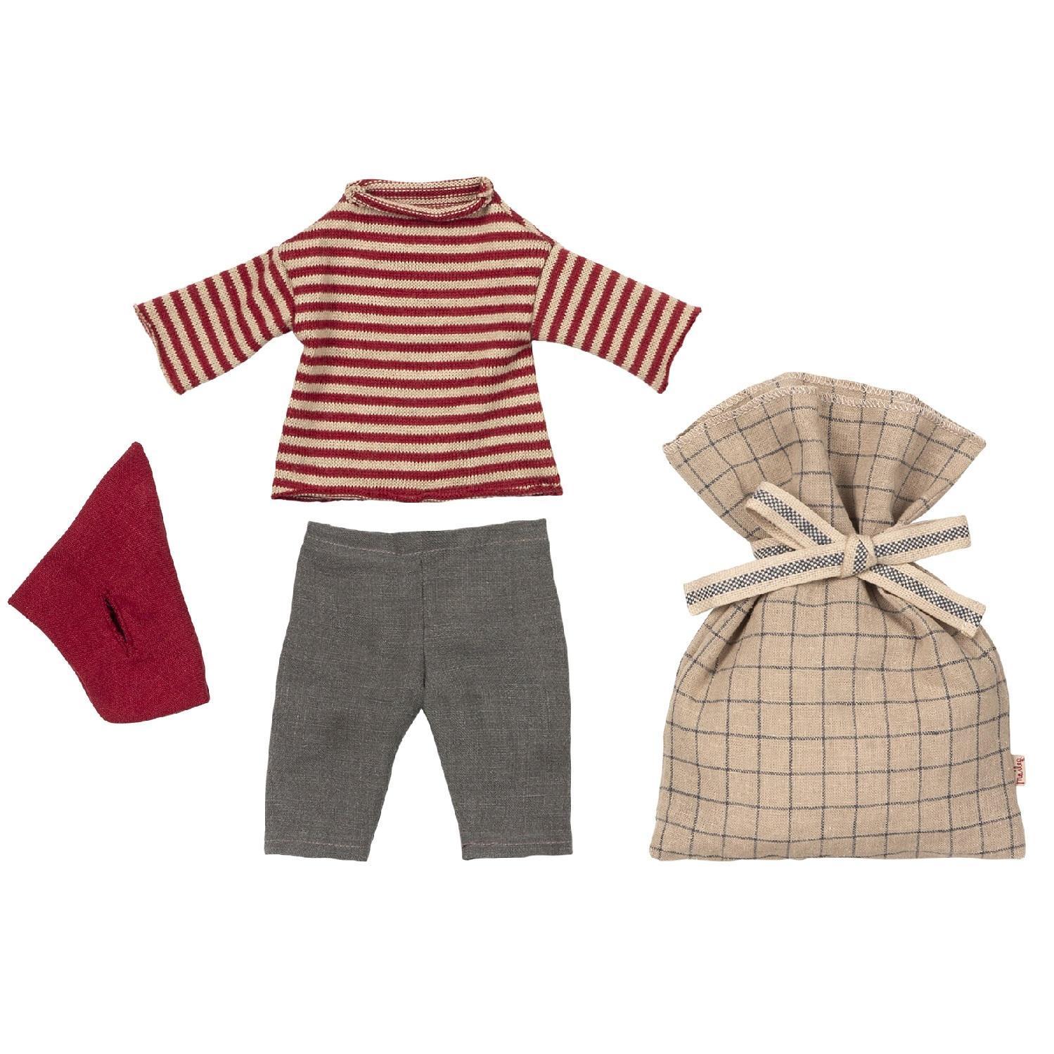 Maileg Vánoční oblečení na myšáka - medium, červená barva, béžová barva, textil