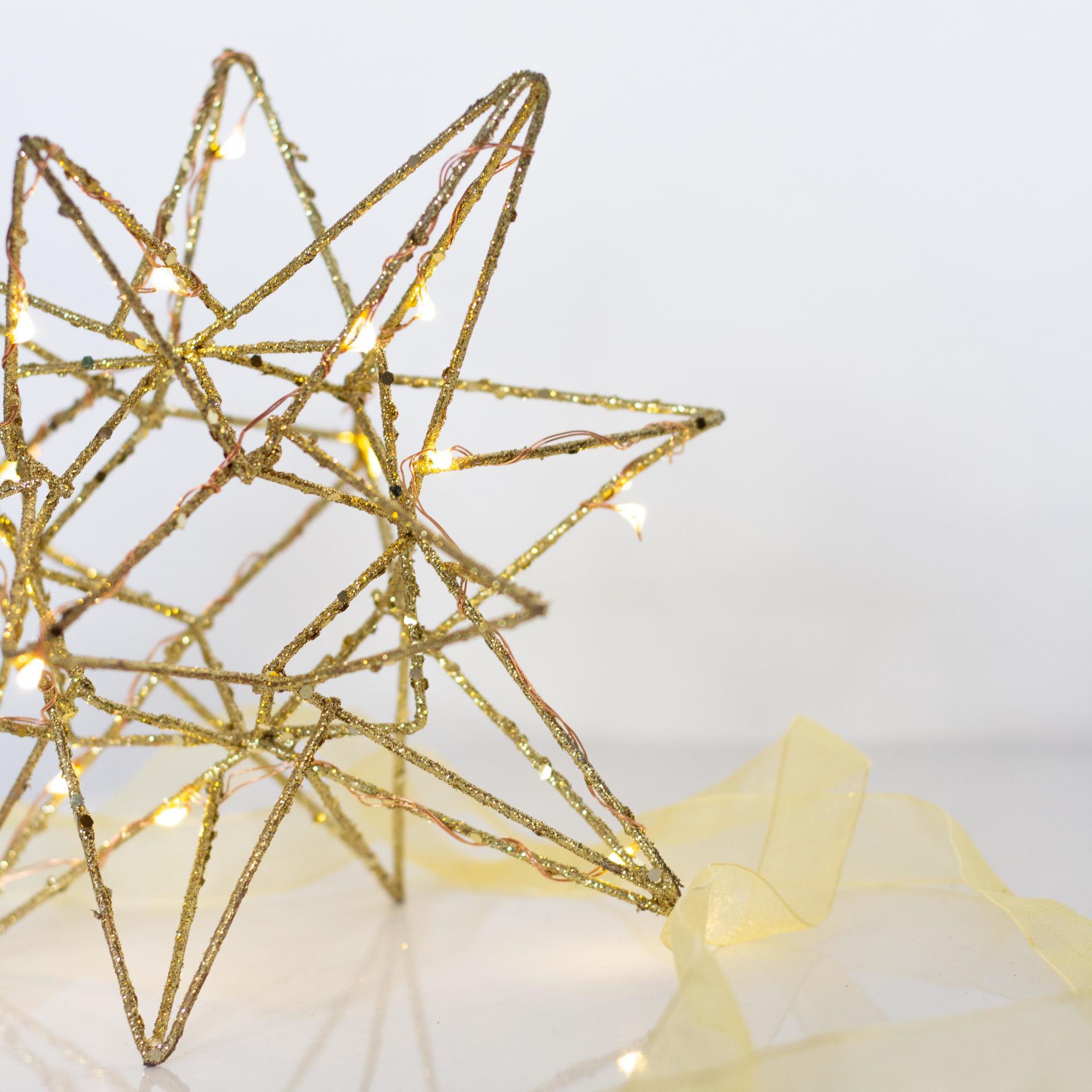 watt & VEKE Závěsná svítící hvězda Polar Large Gold, zlatá barva, sklo