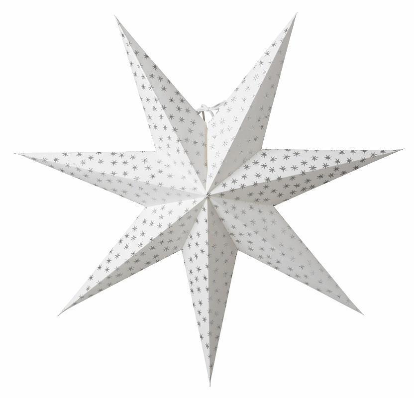 watt & VEKE Závěsná svítící hvězda Asta Silver 60 cm, bílá barva, stříbrná barva, plast, papír