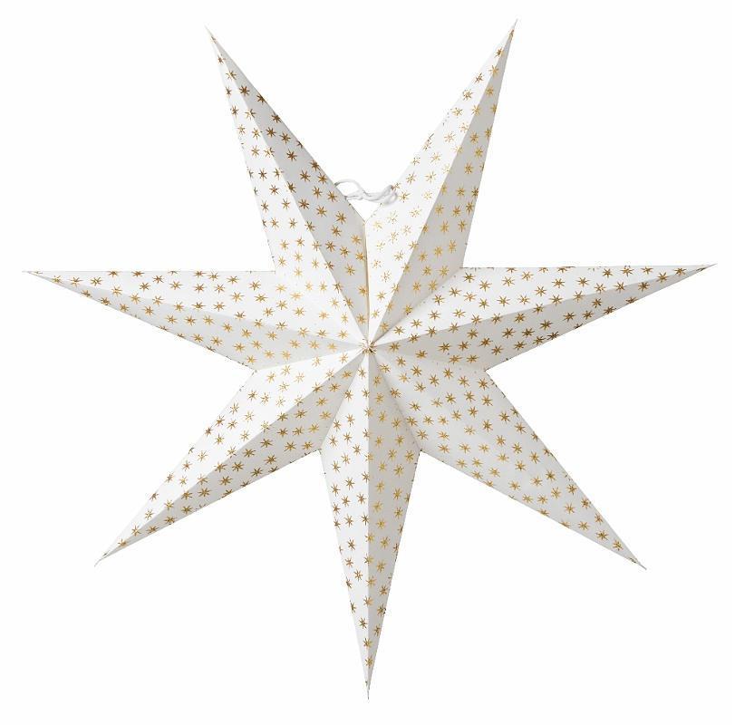 watt & VEKE Závěsná svítící hvězda Asta Gold 60 cm, bílá barva, zlatá barva, plast, papír