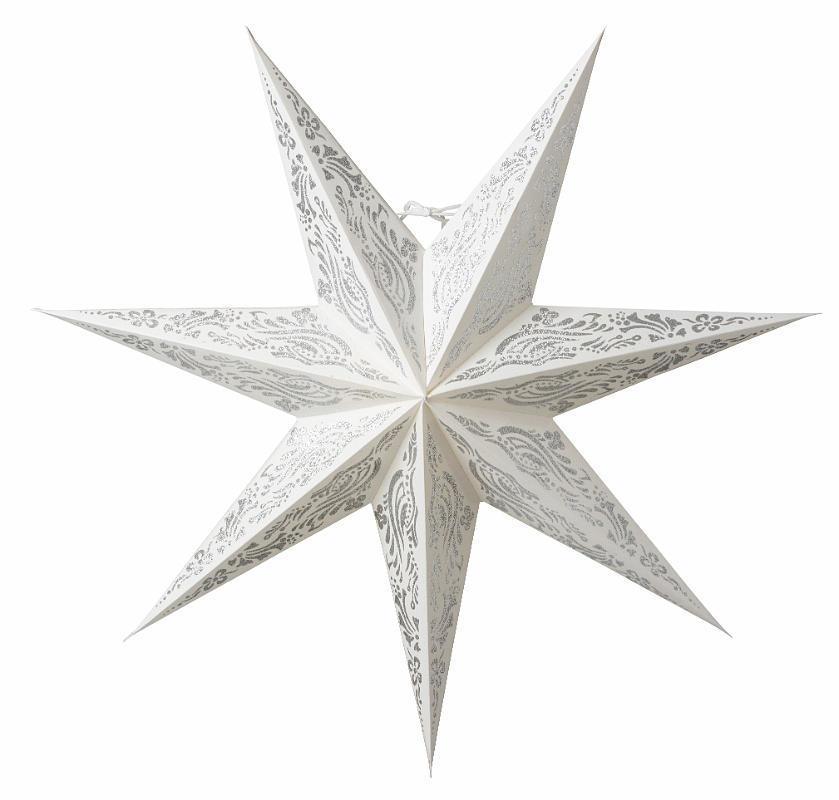 watt & VEKE Závěsná svítící hvězda Indra White Silver 60 cm, bílá barva, stříbrná barva, plast, papír