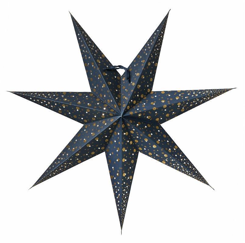 watt & VEKE Závěsná svítící hvězda Isadora Blue 60 cm, modrá barva, plast, papír