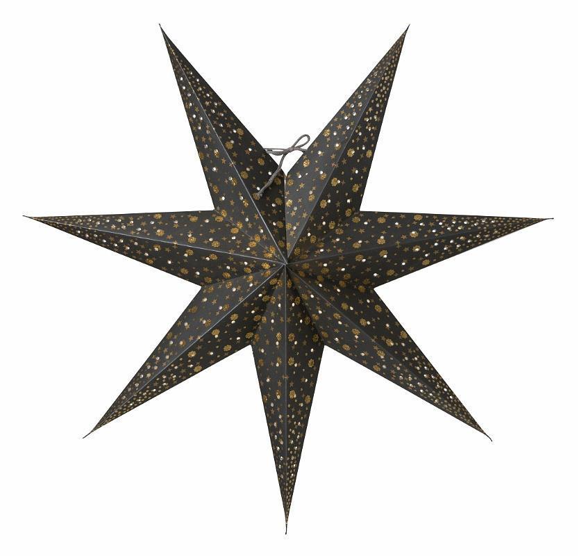 watt & VEKE Závěsná svítící hvězda Isadora Grey 60 cm, šedá barva, plast, papír