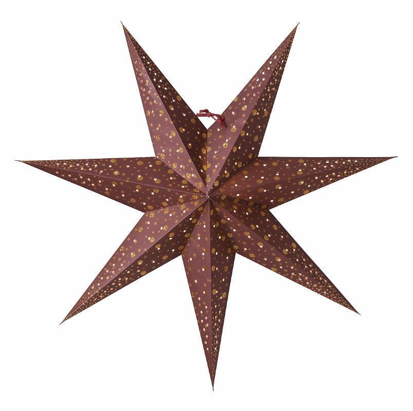 watt & VEKE Závěsná svítící hvězda Isadora Burgundy 60 cm, červená barva, plast, papír