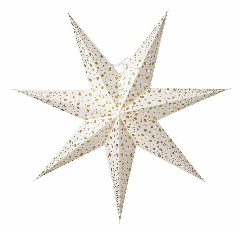 watt & VEKE Závěsná svítící hvězda Isadora White 60 cm, bílá barva, zlatá barva, plast, papír