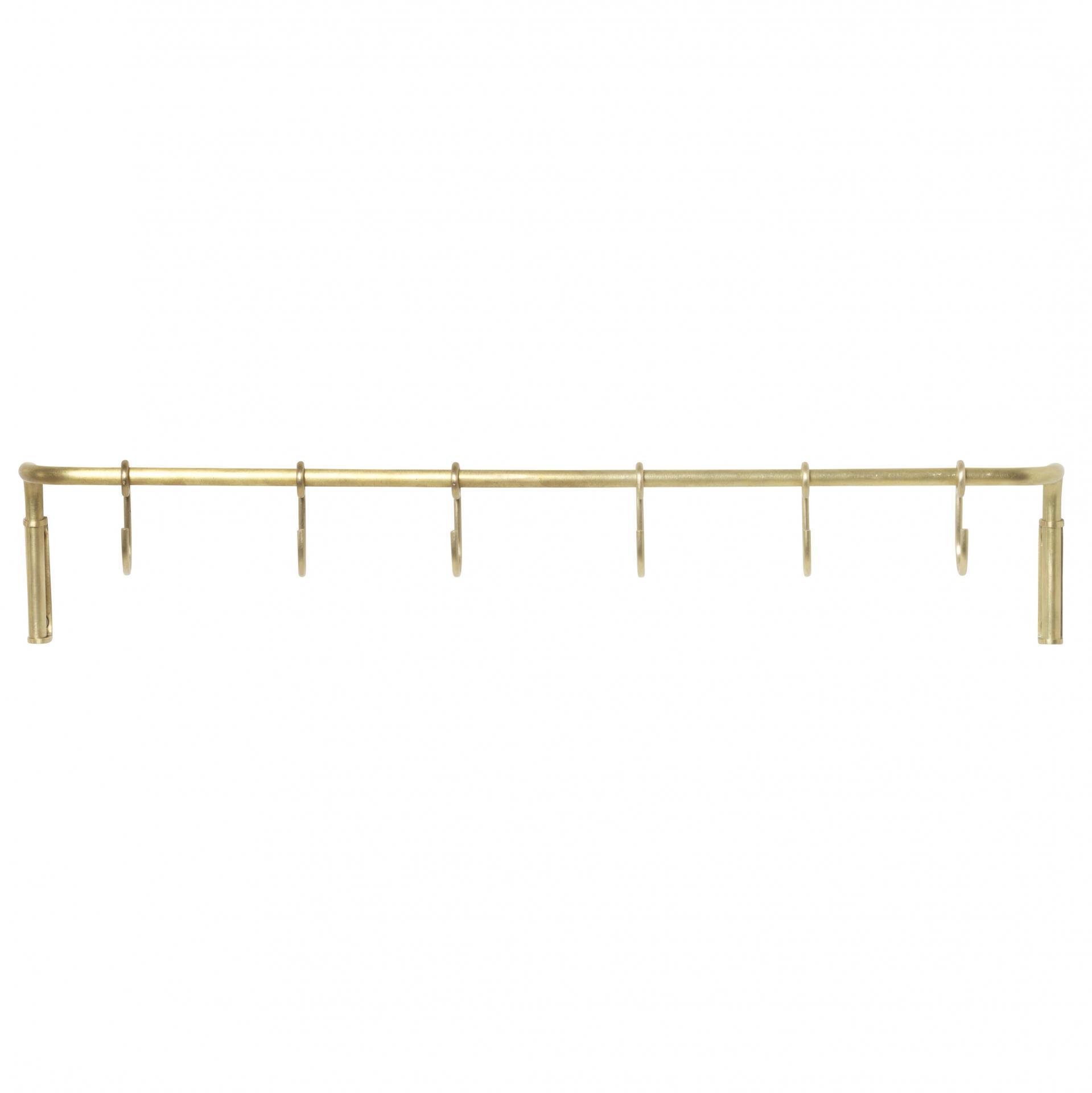 ferm LIVING Kovová tyč do kuchyně + 6 háčků Brass, zlatá barva, kov