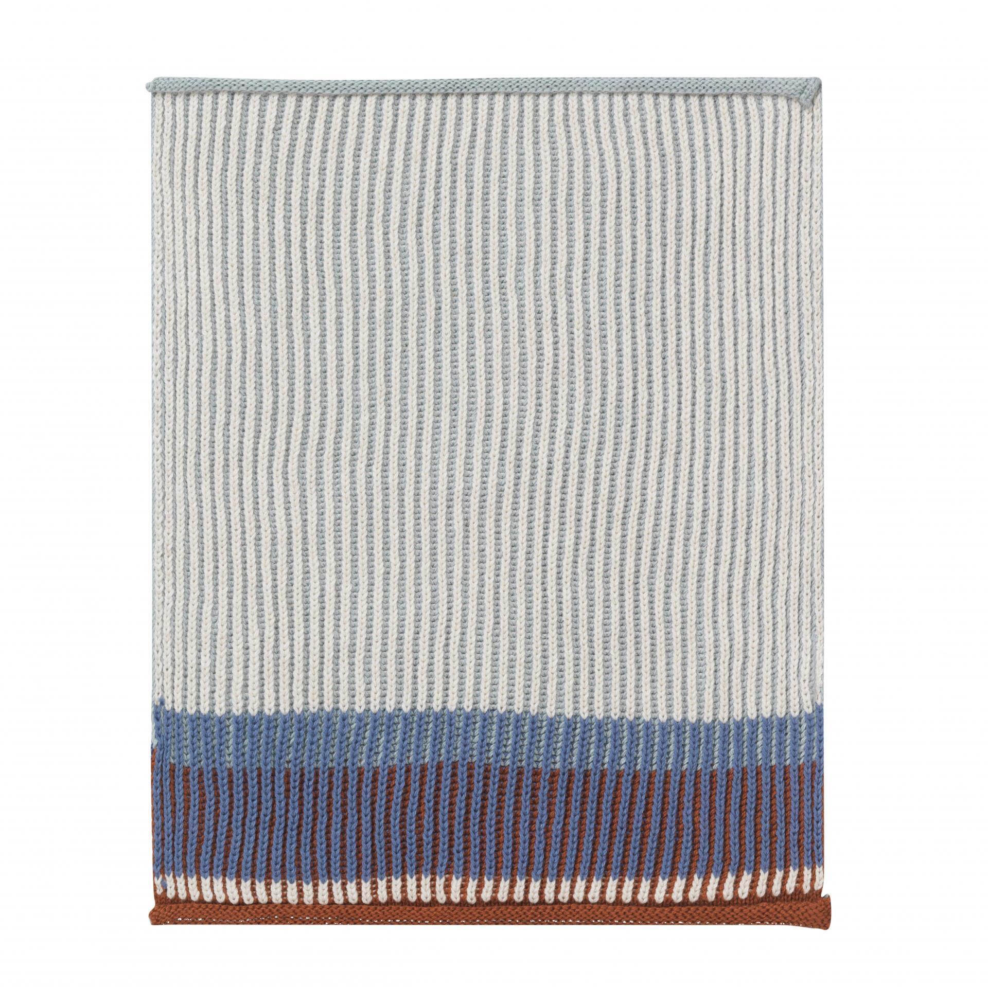ferm LIVING Pletený hadřík Akin Dull blue - set 2 ks, modrá barva, šedá barva, textil