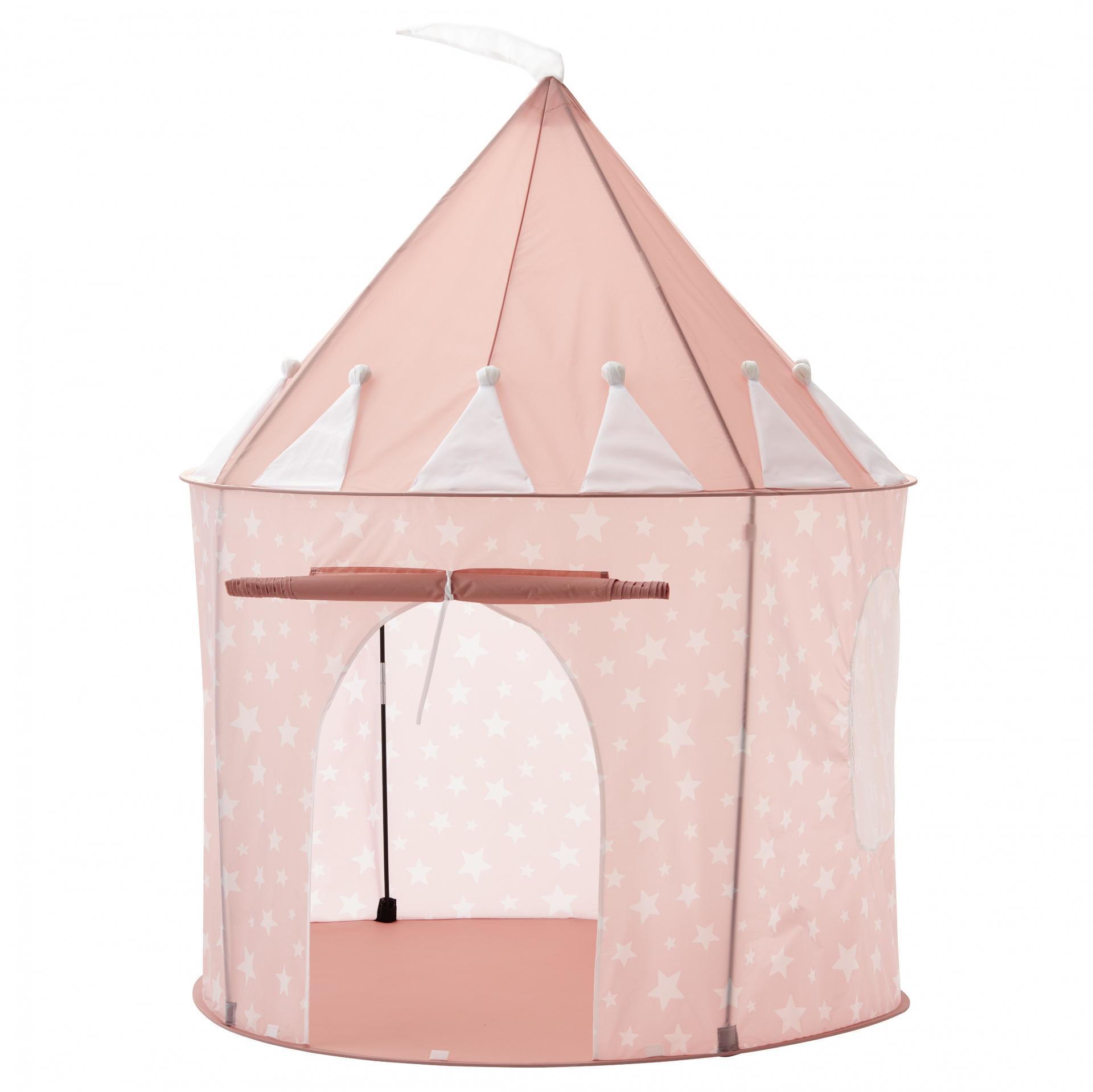 Kids Concept Dětský stan Pink Star Castle 130 cm, růžová barva, plast