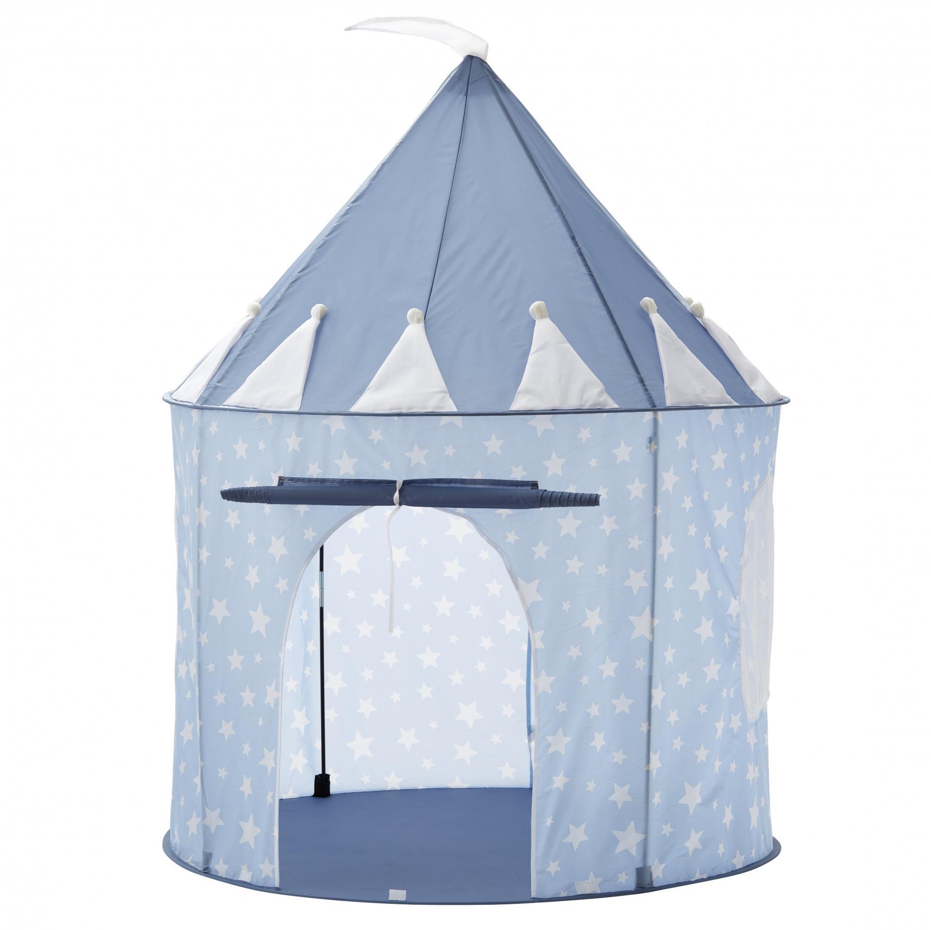Kids Concept Dětský stan Blue Star Castle 130 cm, modrá barva, plast