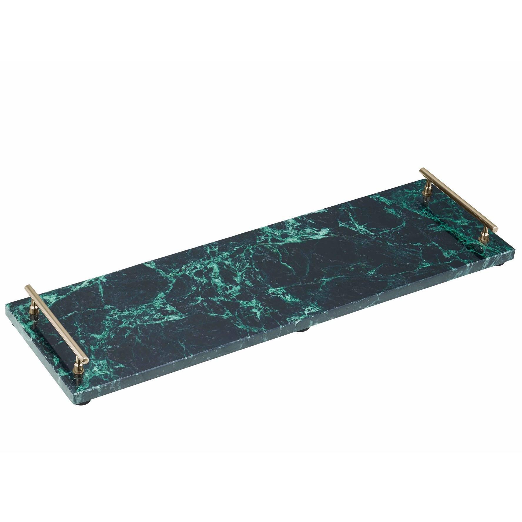 Kitchen Craft Mramorový tác Art Marble Platter, zelená barva, zlatá barva, kov, kámen