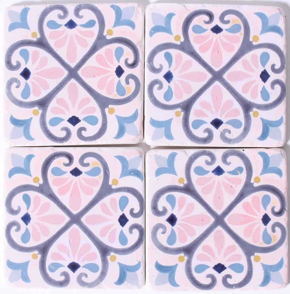 La finesse Kamenné podtácky Summer in France, růžová barva, fialová barva, modrá barva, kámen, korek