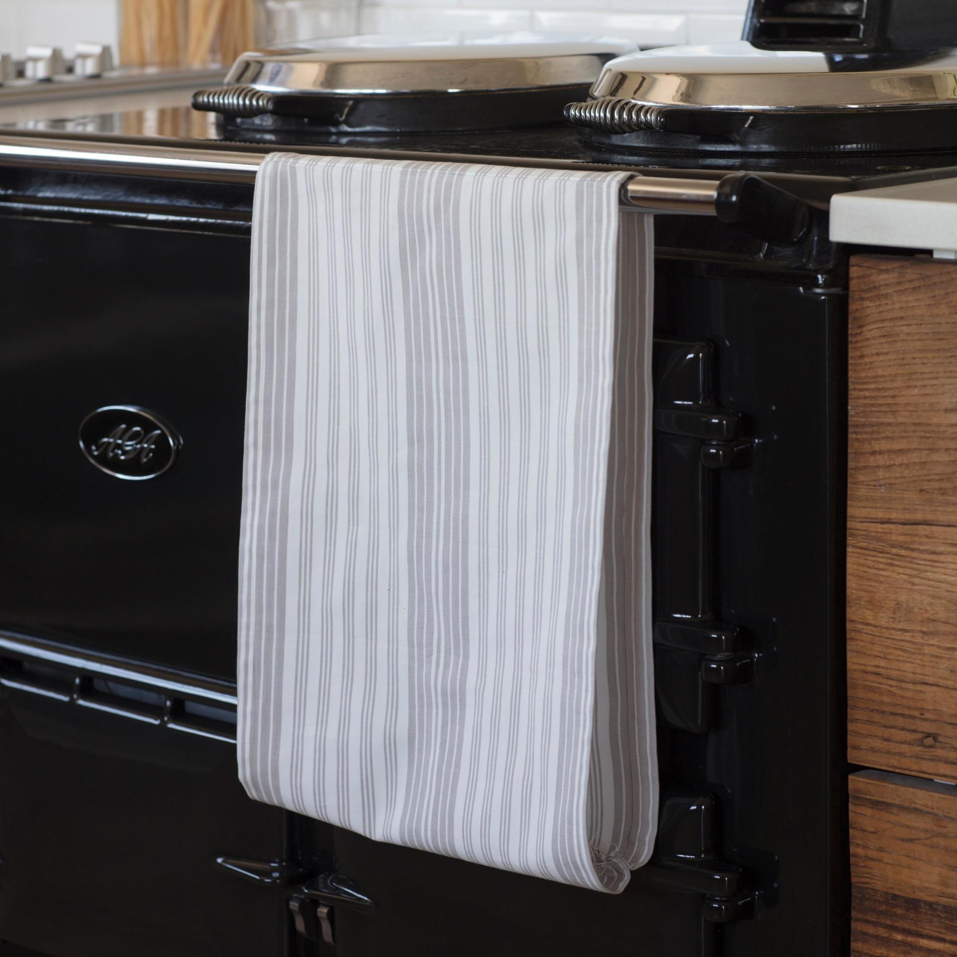 Garden Trading Spojené kuchyňské utěrky se suchým zipem - set 2 ks, šedá barva, bílá barva,