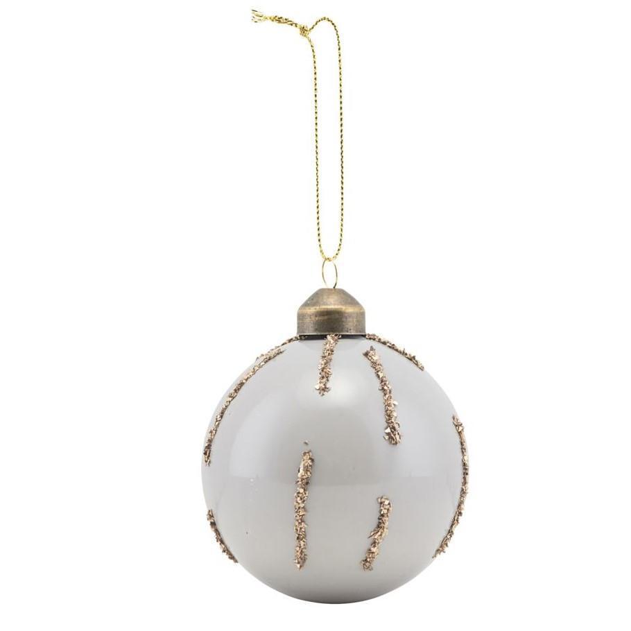 House Doctor Vánoční baňka Gold Lines, bílá barva, zlatá barva, sklo