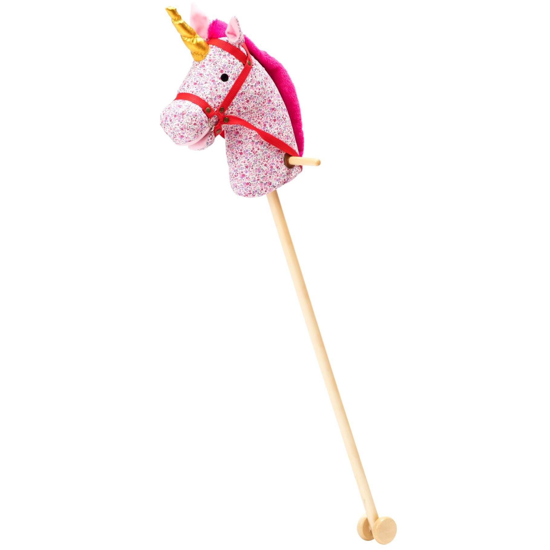 rice Dětský kůň na tyči Unicorn Pink, multi barva, přírodní barva, dřevo, textil