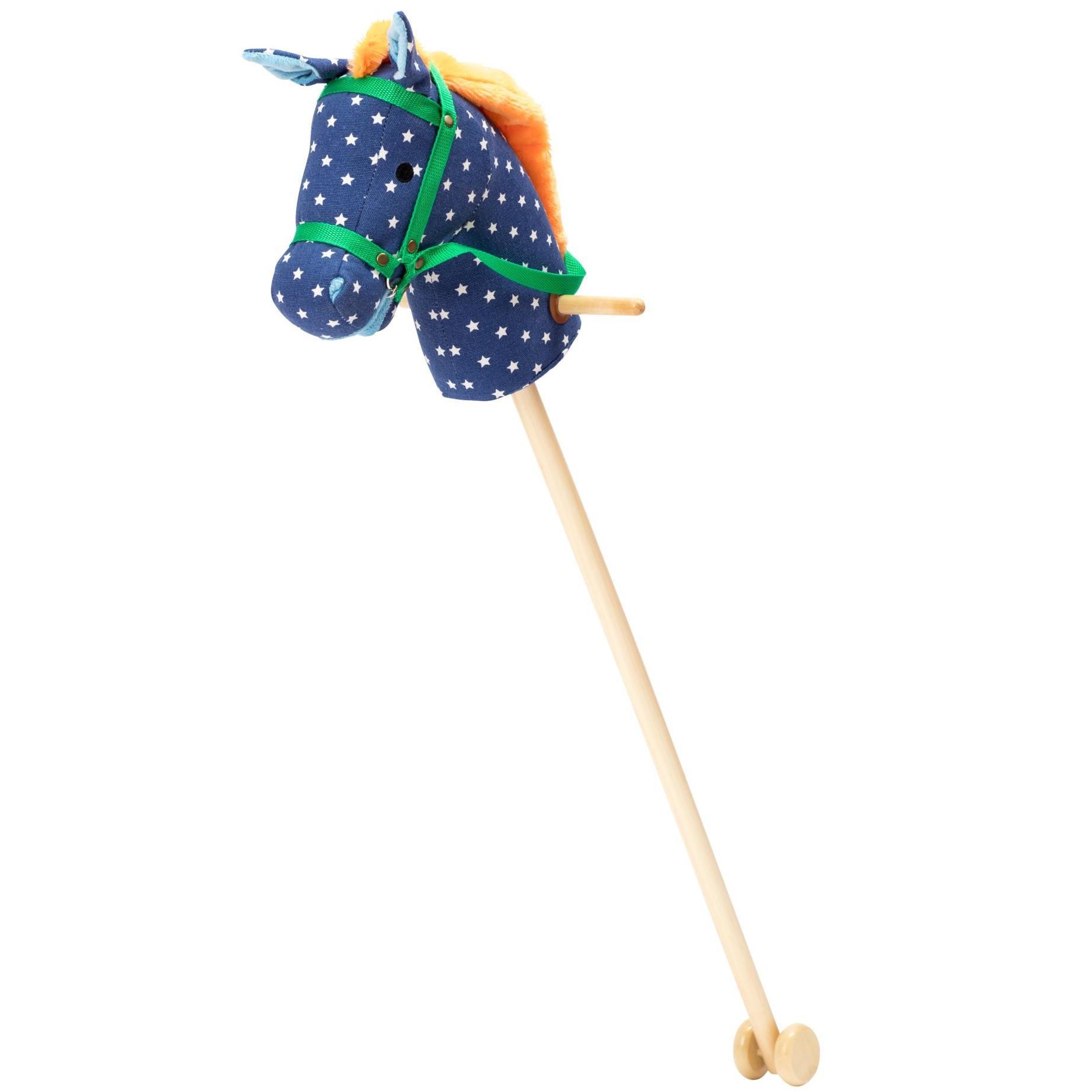 rice Dětský kůň na tyči Blue Star, modrá barva, přírodní barva, dřevo, textil