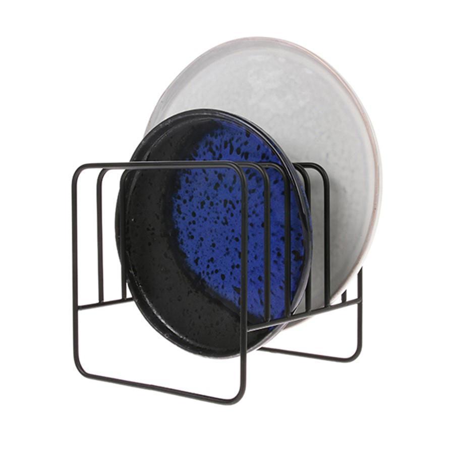 HK living Stojánek na talíře Matt Black, černá barva, kov