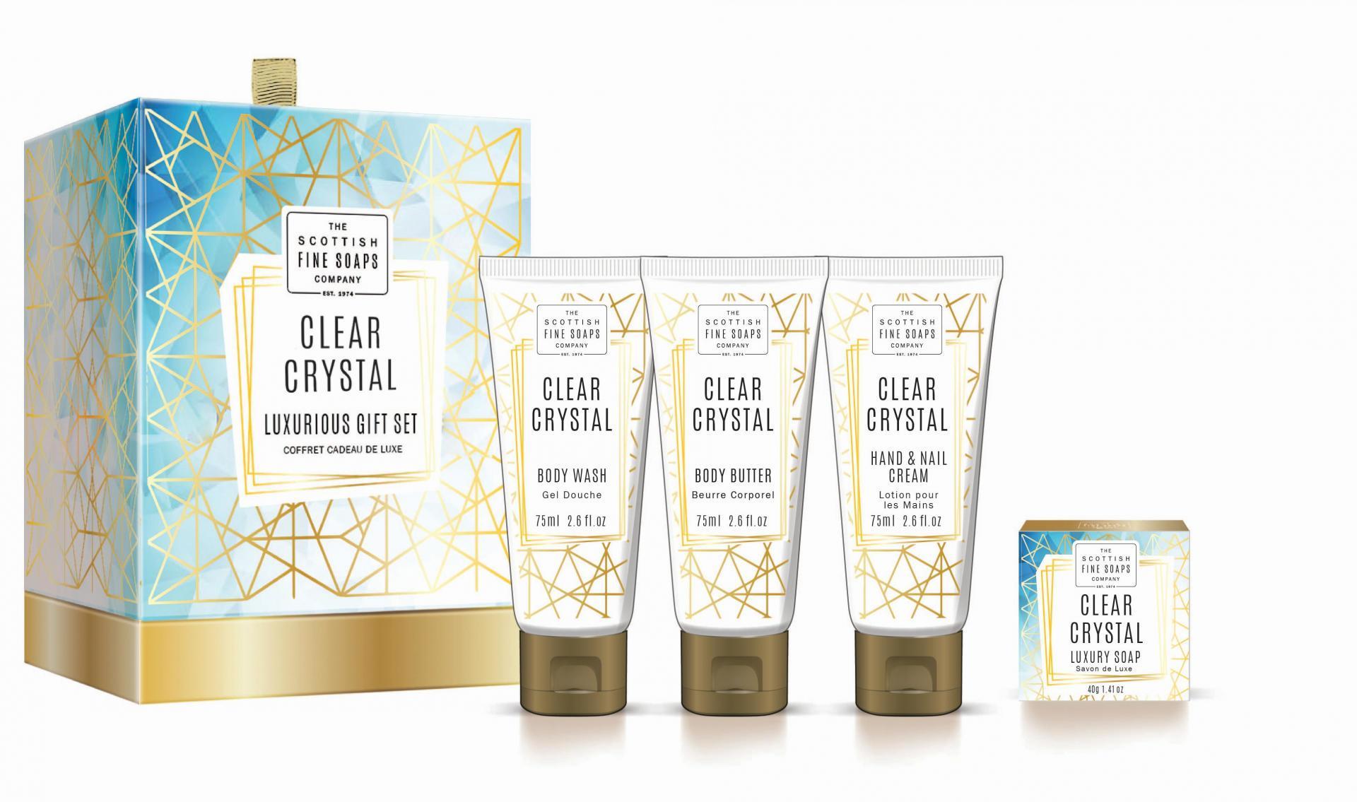 SCOTTISH FINE SOAPS Dárkový set kosmetiky Clear Crystal, bílá barva, zlatá barva, plast, papír