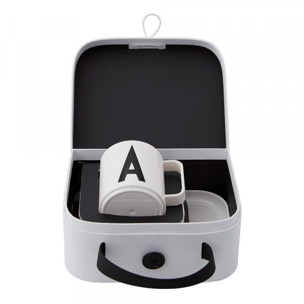 DESIGN LETTERS Dětská sada nádobí v kufříku Suitcase For Kids C, černá barva, bílá barva, plast, papír