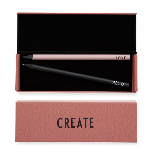 DESIGN LETTERS Pouzdro na psací potřeby CREATE, růžová barva, černá barva, kov, textil