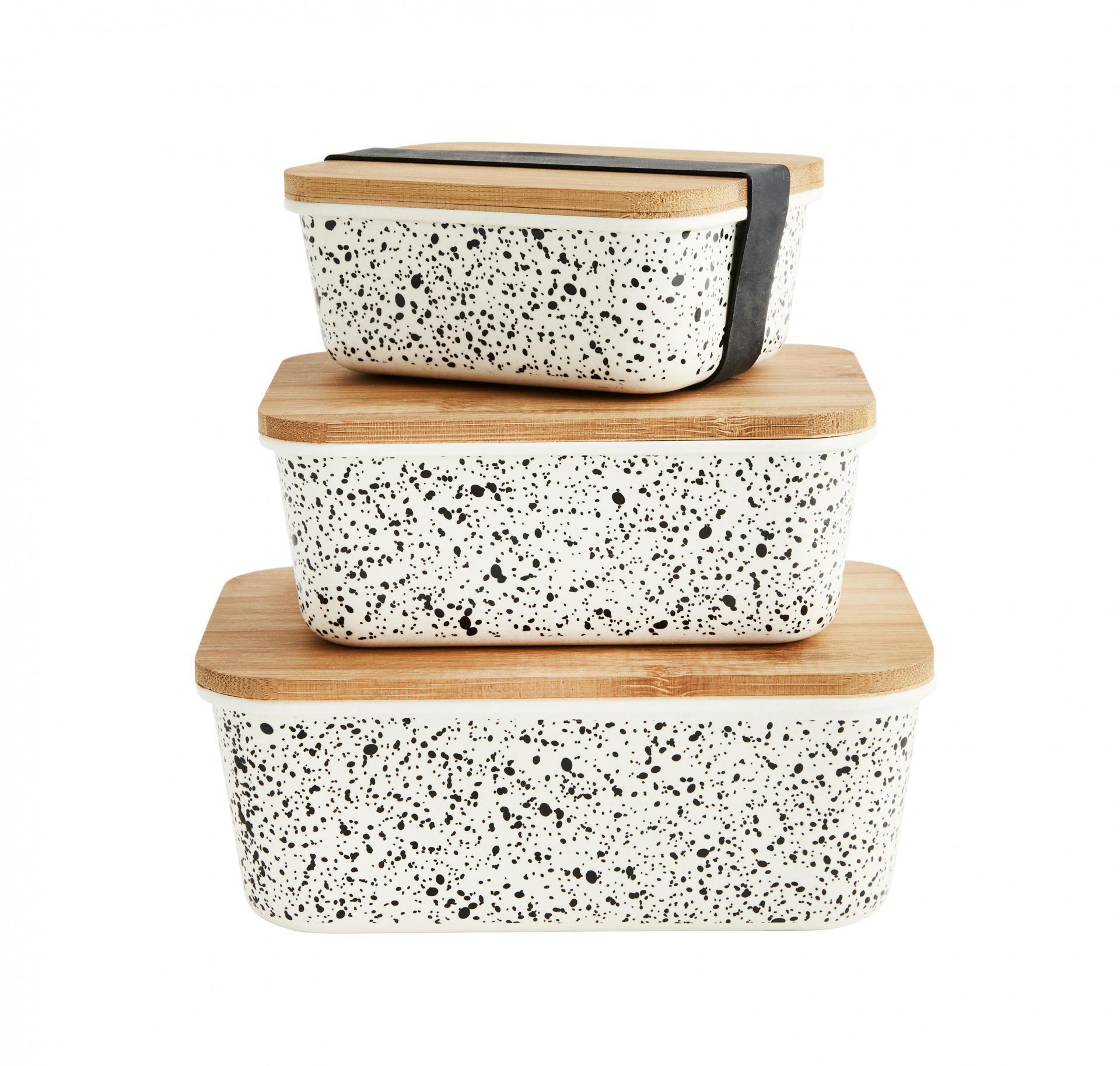 MADAM STOLTZ Úložné dózy Rectangular Containers Bamboo set 3 kusů, béžová barva, černá barva, přírodní barva, dřevo, plast
