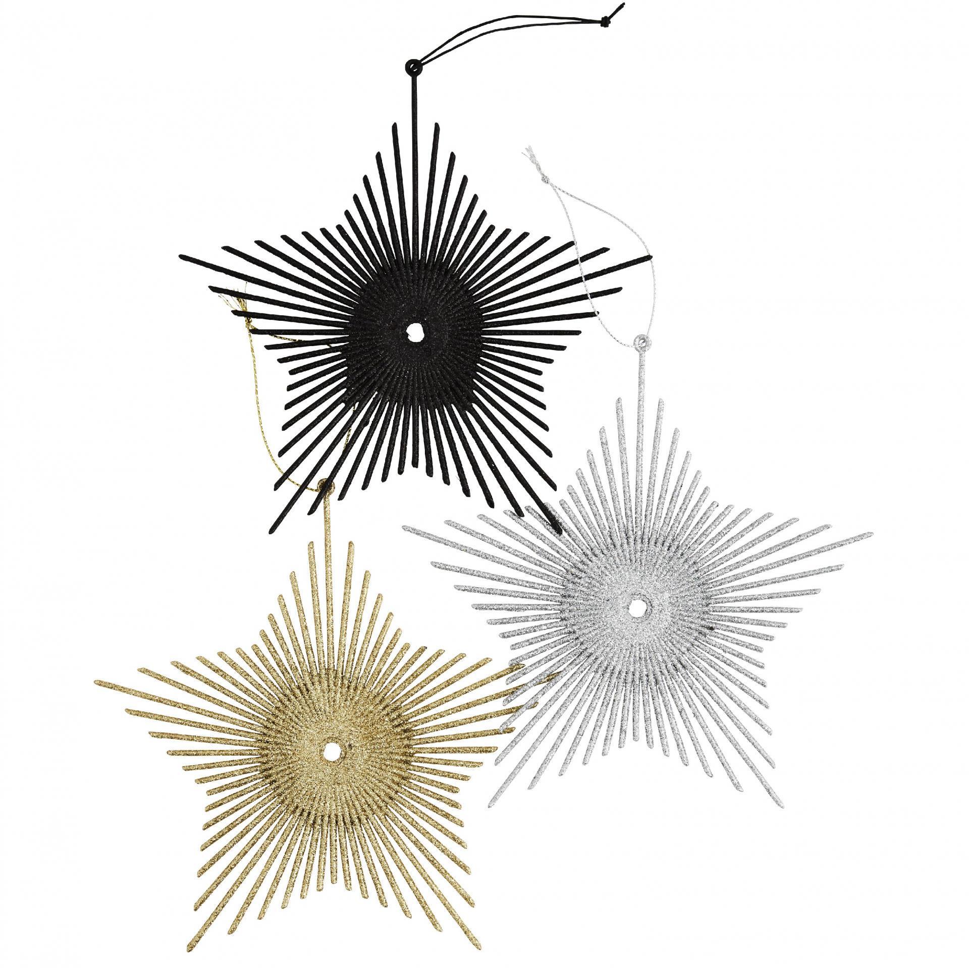 MADAM STOLTZ Závěsné třpytivé hvězdy - set 3 ks, černá barva, zlatá barva, stříbrná barva, plast
