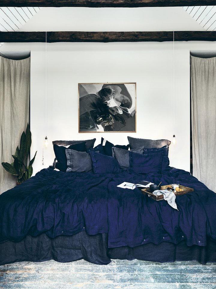 Lovely Linen Přírodní lněné povlečení Midnight Blue, modrá barva, textil