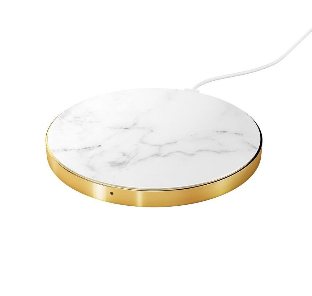 iDeal of Sweden Bezdrátová nabíječka Carrara Gold, bílá barva, zlatá barva, kov, plast