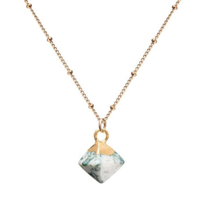 DECADORN Řetízek s přívěskem Pyramid Jasper Moss green/Gold, zelená barva, zlatá barva, kov, kámen