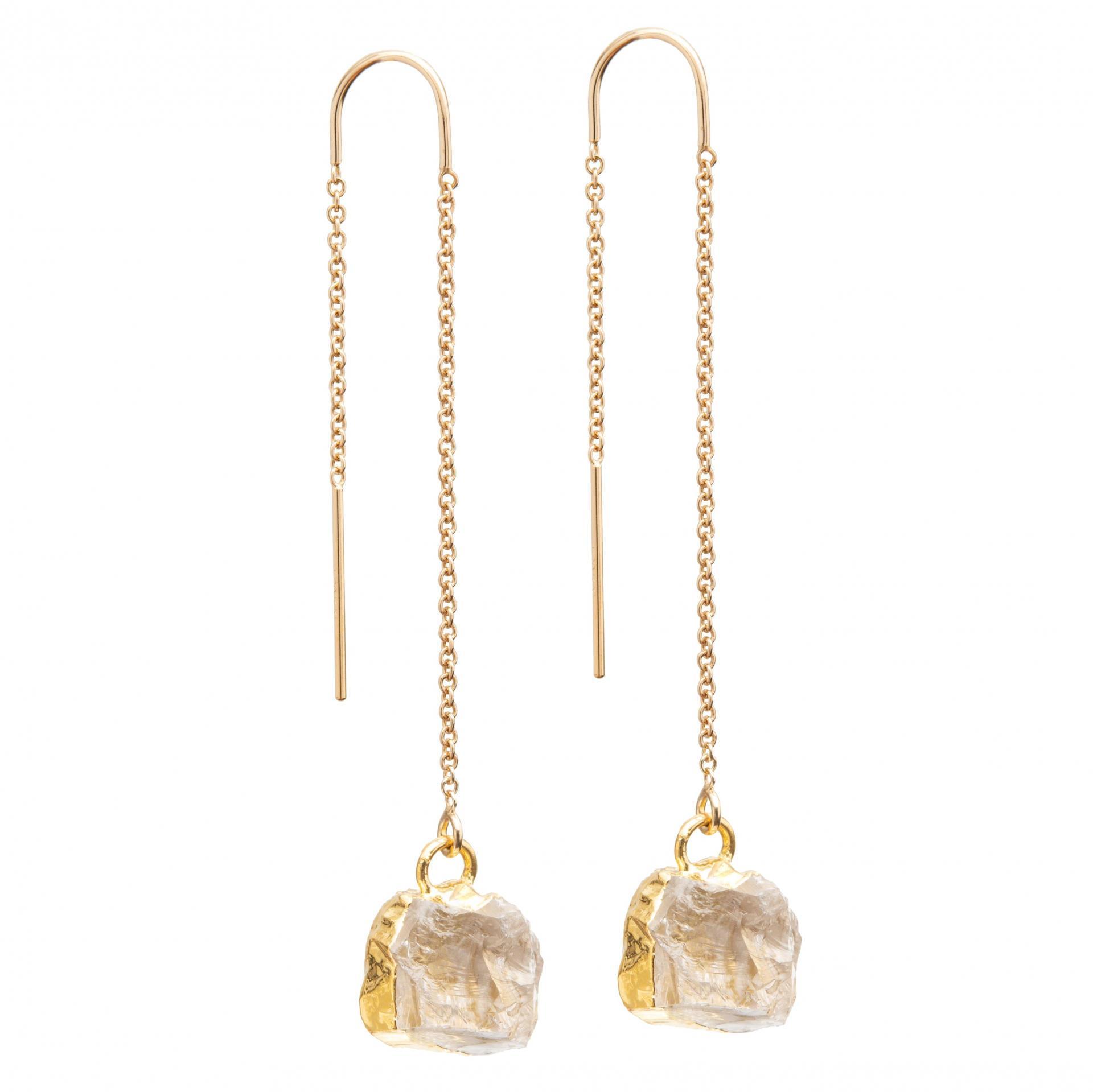 DECADORN Provlékací náušnice Mini Clear quartz/Gold, zlatá barva, čirá barva, kov, kámen