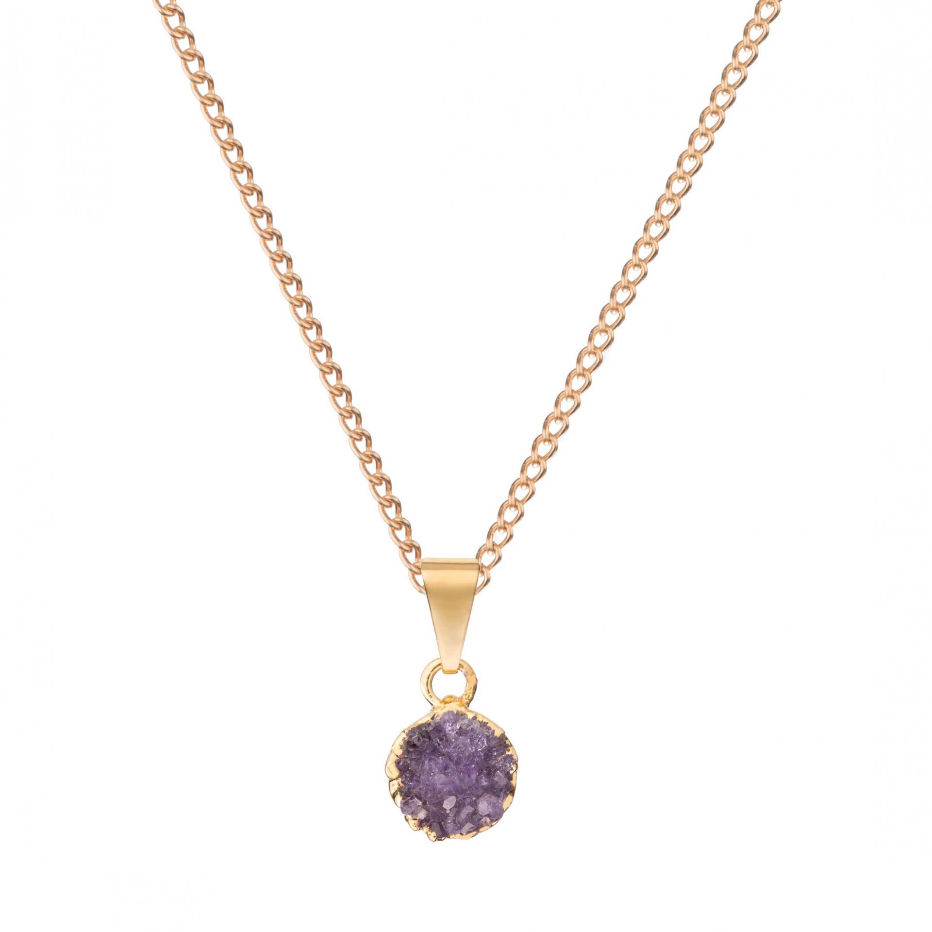 DECADORN Řetízek s přívěskem Mini Circle Amethyst/Gold, fialová barva, zlatá barva, kov, kámen