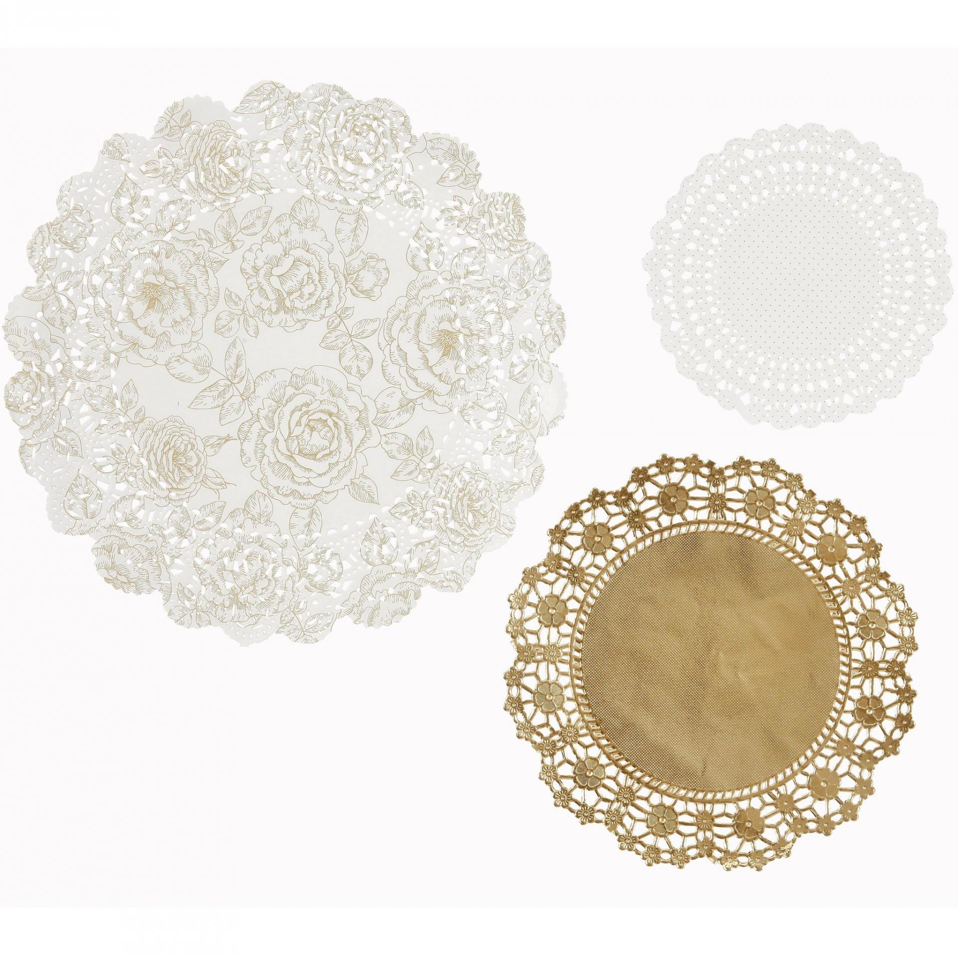 Talking Tables Sada papírových dekorací Gold Paper Doilies 24 ks, bílá barva, zlatá barva, papír