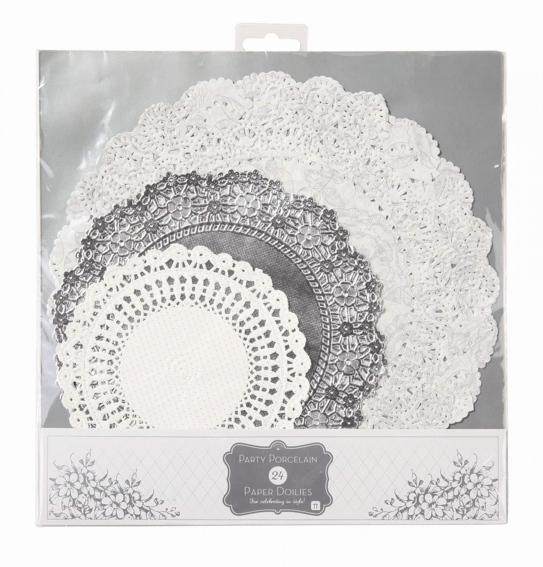 Talking Tables Sada papírových dekorací Paper Doilies 24 ks, šedá barva, bílá barva, stříbrná barva,