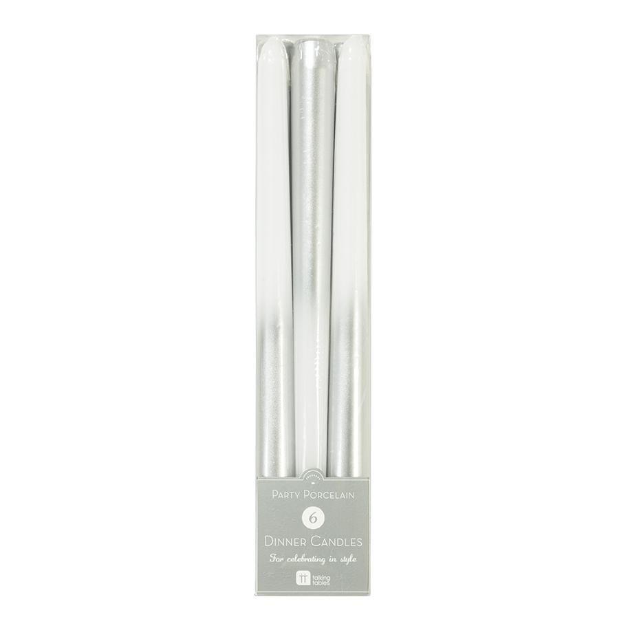 Talking Tables Dlouhé svíčky s matalickým efektem Dinner Candles, bílá barva, stříbrná barva, vosk