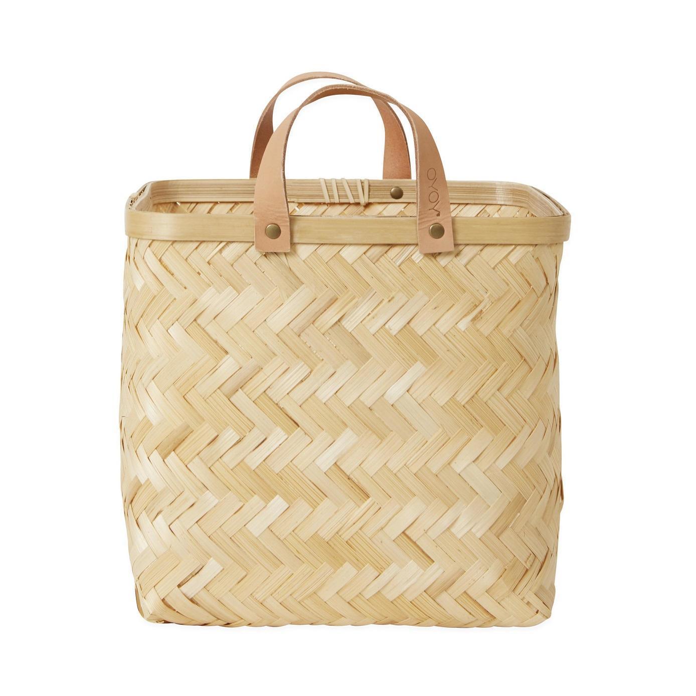 OYOY Bambusový košík Natural 28x26cm, hnědá barva, dřevo, kůže
